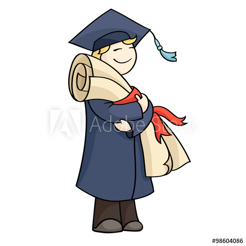 500x500 Cartoon Graduating Man With Diploma With Red Ribbon Happy Cute