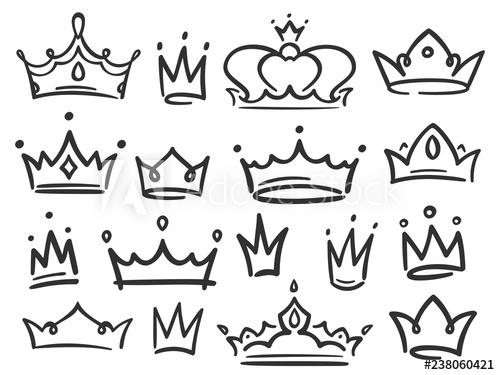 500x375 Sketch Crown Simple Graffiti Crowning, Elegant Queen Or King