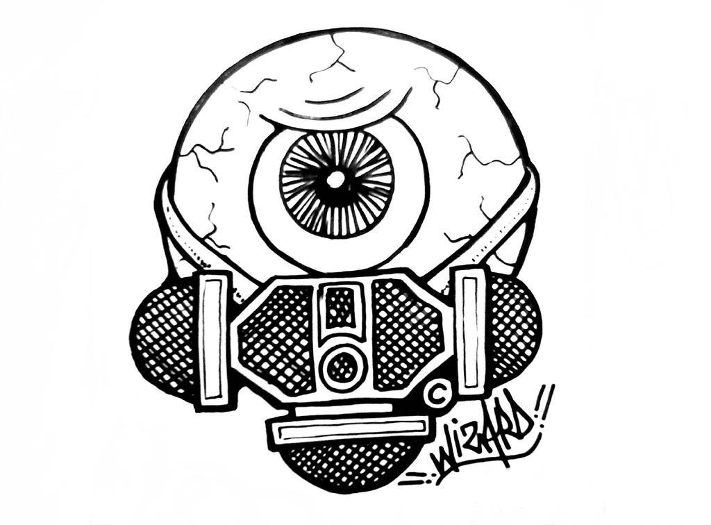 1024x756 One Eye Graffiti Sticker Gas Mask