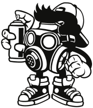 190x219 Bomber Graffiti Gas Mask Small Buttons Spreadshirt