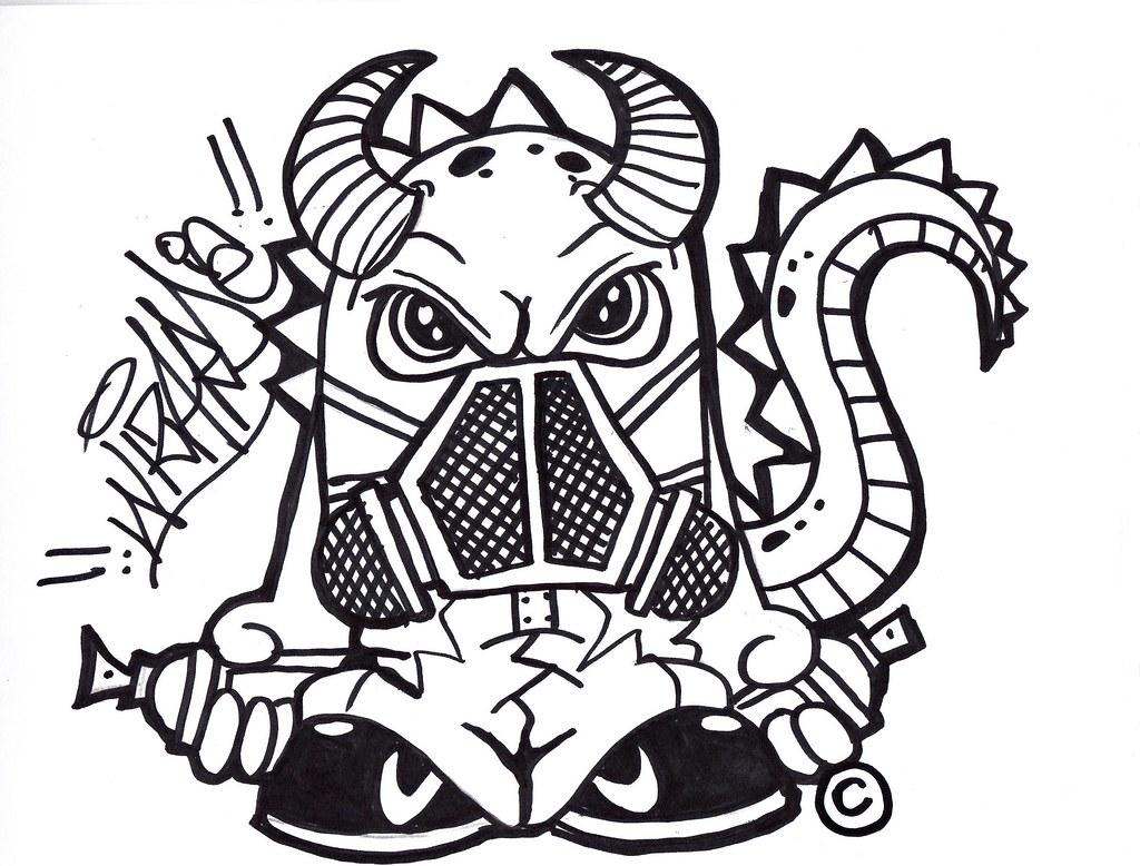 1024x778 Dragon Gas Mask Graffiti Character