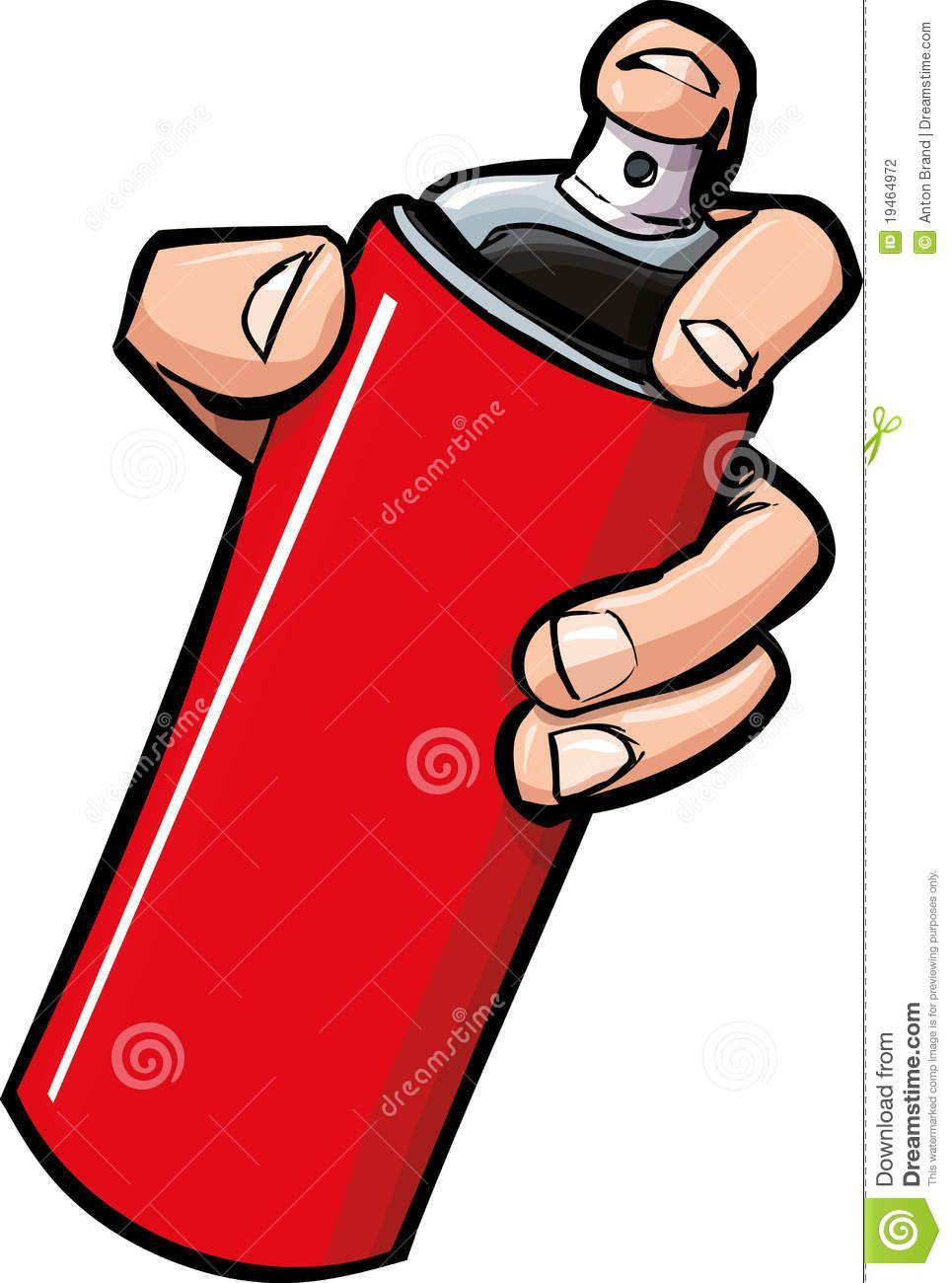 965x1300 Cartoon Hand Holding A Spray Can Stock Photography