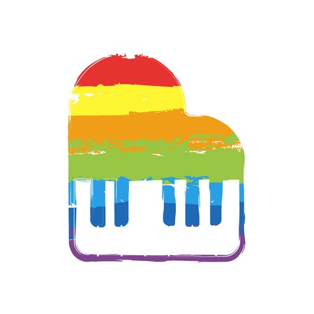 450x450 Grand Piano Icon Drawing Sign With Lgbt Style, Seven Colors