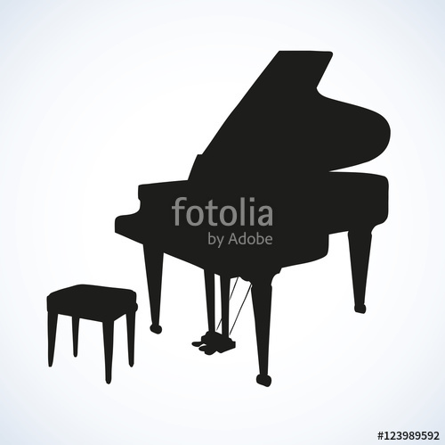 500x499 Vector Drawing Of An Open Grand Piano Stock Image And Royalty