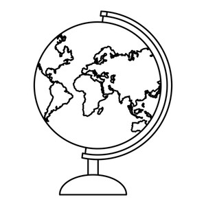 300x300 Earth Globe Map Drawing In White Background Vector Illustration