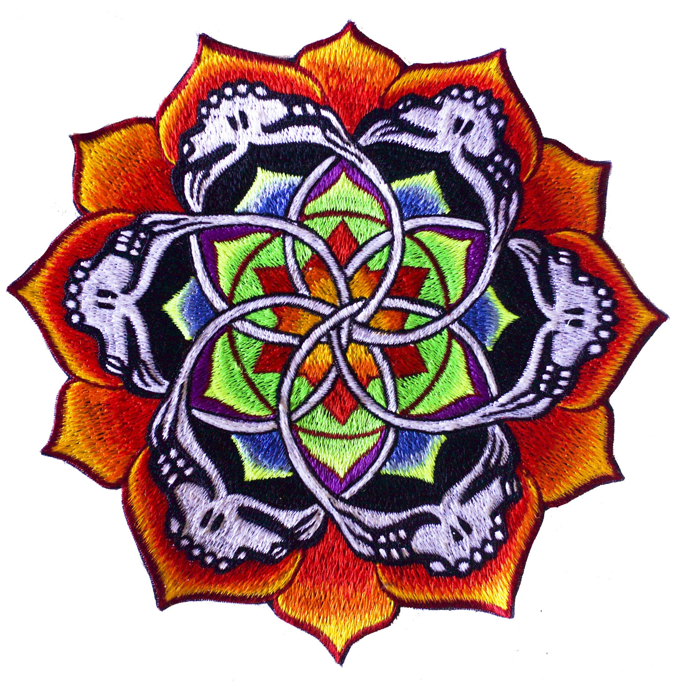 2185x2185 grateful dead flower mandala patch psy deadhead patch lsd