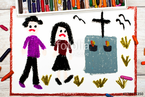 500x334 Photo Of Colorful Drawing Sad Couple And Grave Stock Photo
