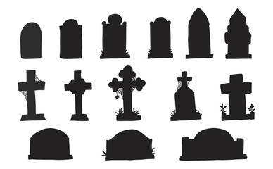 388x240 Set Of Grave Marker Vector On White Background Cemetery Mark