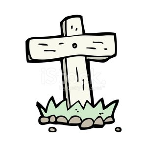 300x300 Cartoon Wooden Cross Grave Stock Vectors