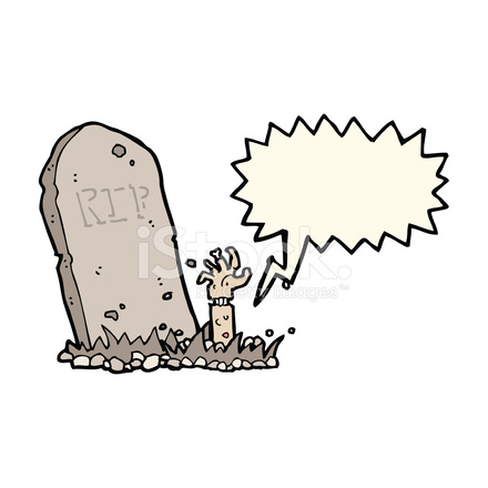 440x440 Cartoon Zombie Rising From Grave With Speech Bubble Stock Vector