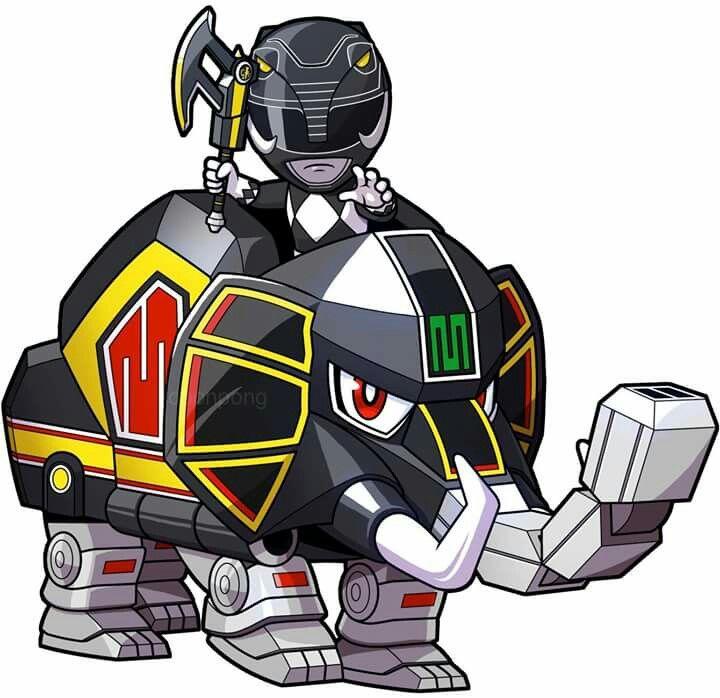 720x698 Chibi Mmpr Black And Mastodon Dinozord Power Rangers Power