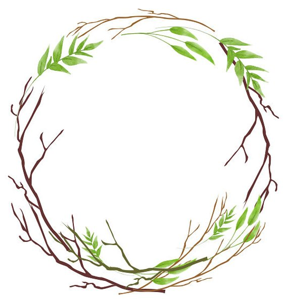 570x602 rustic wreath greenery clipart leafy wreath watercolor wreath etsy