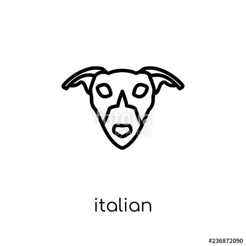 500x500 Italian Greyhound Dog Icon Trendy Modern Flat Linear Vector