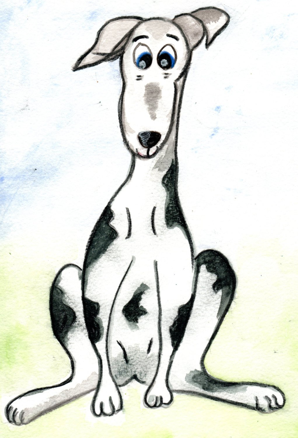 1021x1500 Pencil Art Image Of A Quizzical Looking Sitting Greyhound Etsy