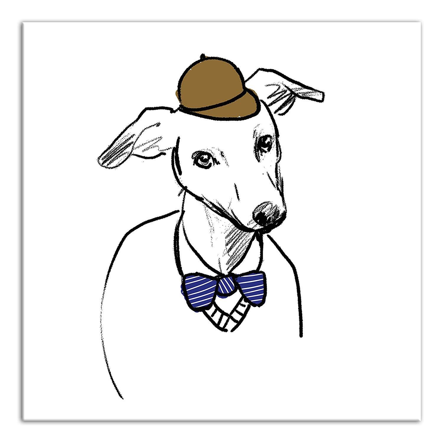 1500x1500 Greyhound With Hat And Bowtie Canvas Wall Art