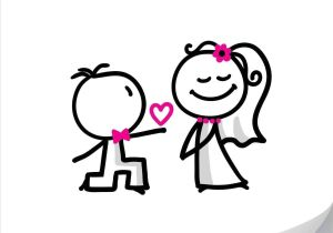300x210 drawing a cartoon bride wedding doodle set of bride and groom