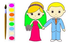 320x180 Groom And Bride Drawing And Coloring Pages For Kids