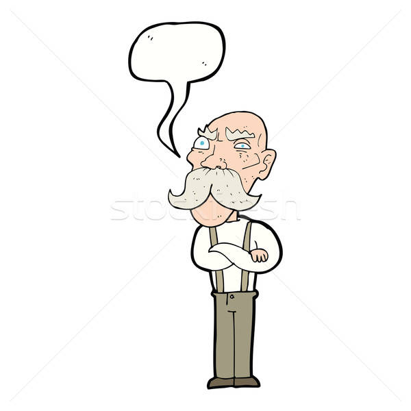 600x600 Cartoon Angry Old Man With Speech Bubble Vector Illustration