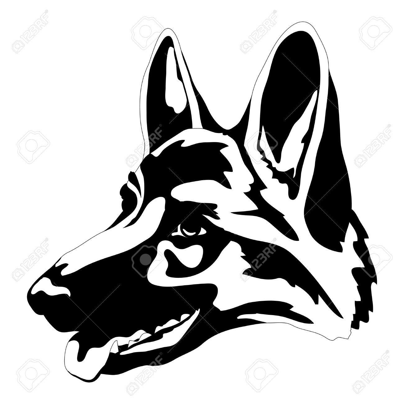 1300x1300 german shepherd dog head face black silhouette german shepherd
