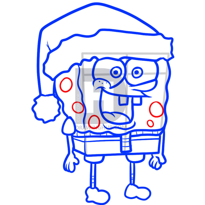 720x720 how to draw christmas spongebob, christmas spongebob, step