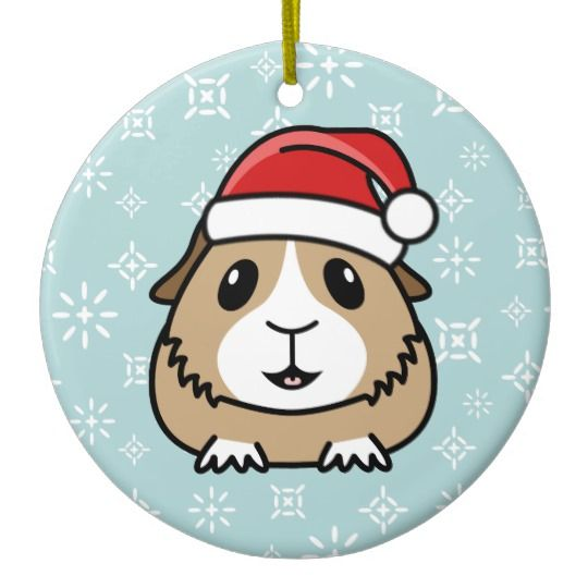 540x540 Cartoon Guinea Pig Christmas Round Ornament Guinea