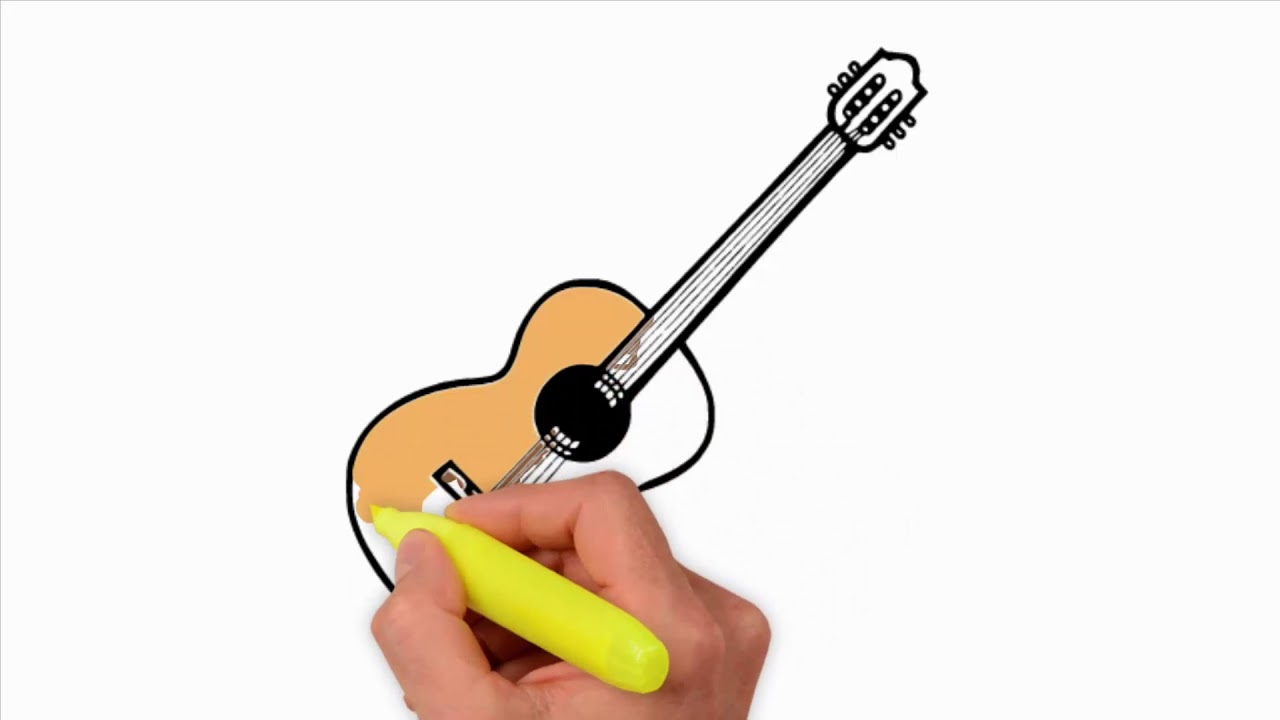 1280x720 Coloring Pages How To Draw A Realistic Guitar