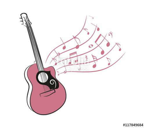 500x441 Drawing Of An Acoustic Guitar With Notes Stock Image And Royalty