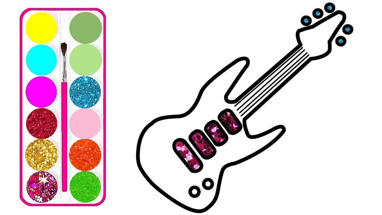 1280x720 Guitar Drawing For Kids And Glitter Guitar Drawing And Coloring