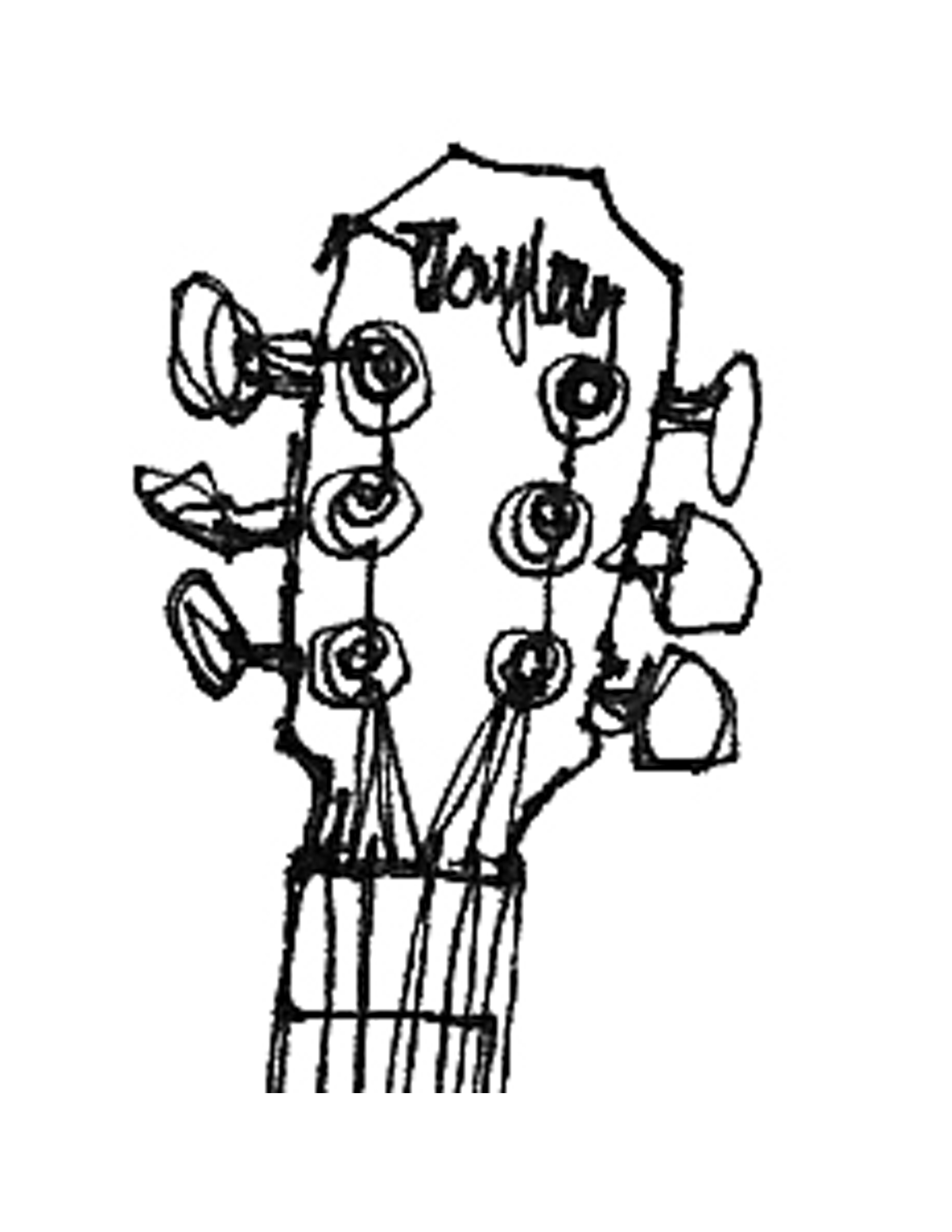 1700x2200 Guitar Drawing Outline