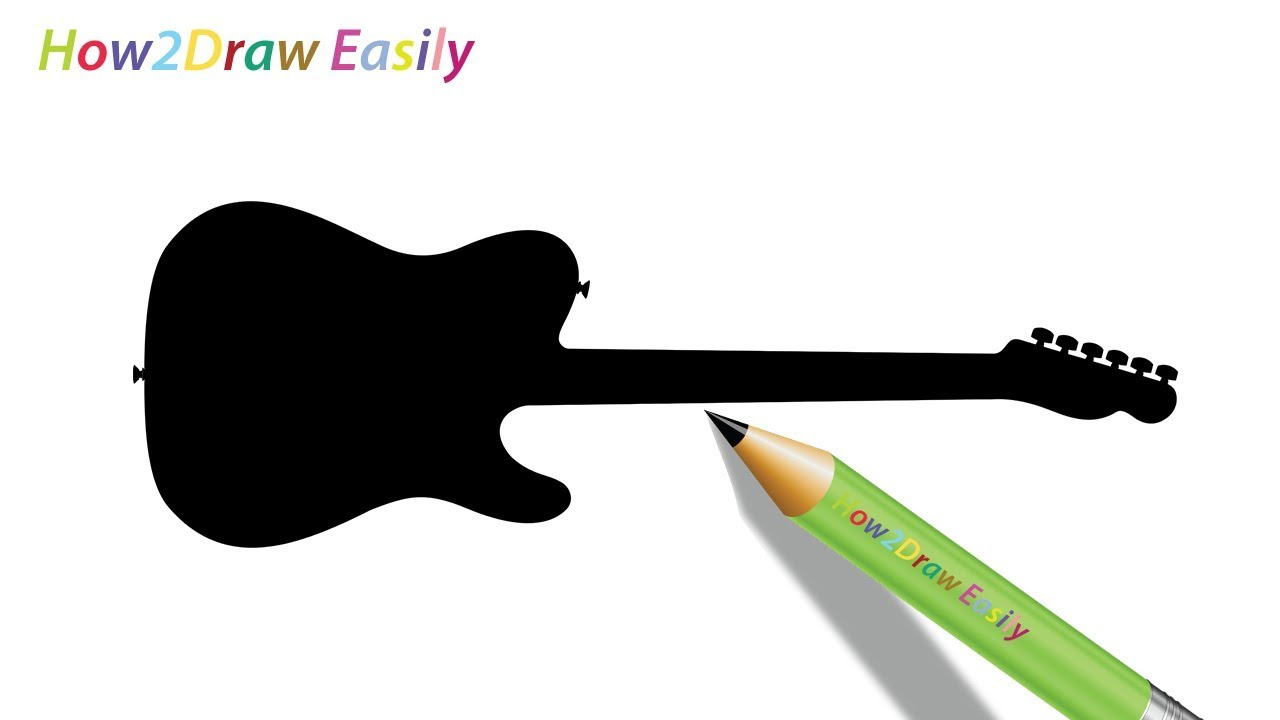 1280x720 How To Draw A Guitar Back Silhouette Easy Step