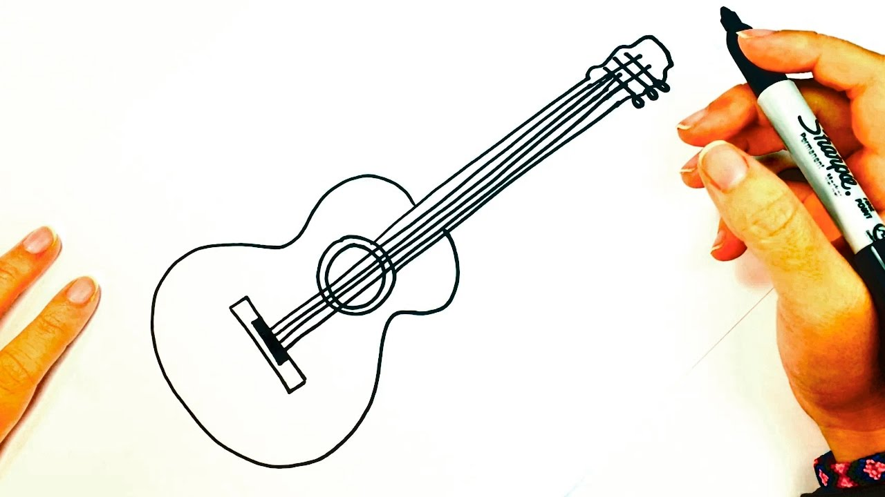 1280x720 how to draw a acoustic guitar acoustic guitar easy draw tutorial