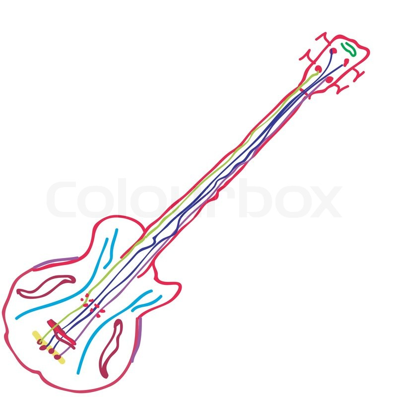 800x800 Childlike Guitar Drawing Stock Vector Colourbox