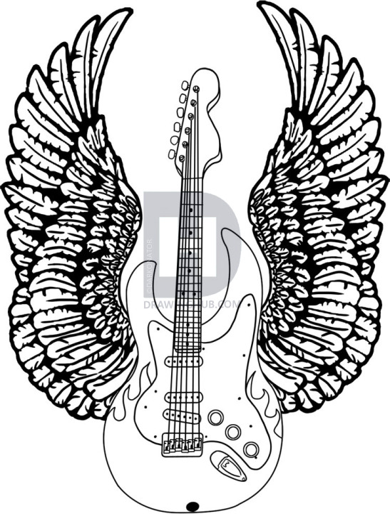 547x720 How To Draw A Guitar With Wings, Step