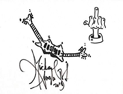 425x325 Michael Angelo Batio Signed Hand Drawn Double Guitar Sketch Coa