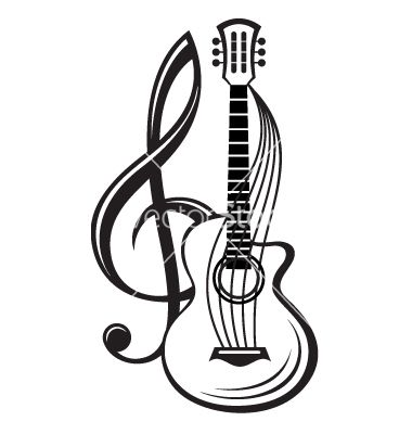 380x400 Treble Clef And Guitar Vector Facepaint