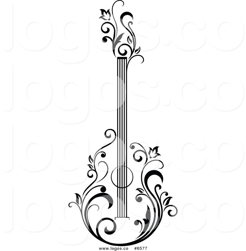 1024x1044 Black And White Acoustic Guitar Clipart