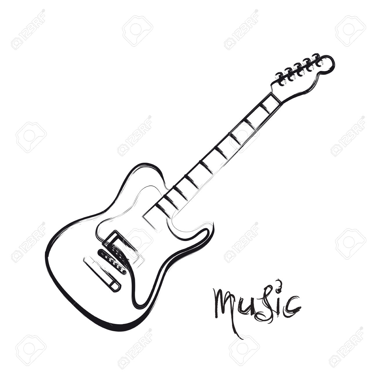 1300x1300 Guitar Drawing Abstract For Free Download