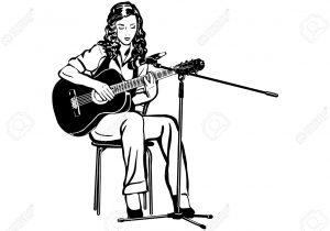 300x210 girl playing guitar sketch image girl playing guitar sketch guitar