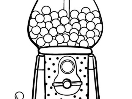 Round Glass Gumball Machine Coloring Pages - Free & Printable ... | 330x440