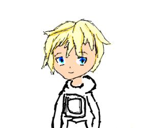 300x250 anime boy with polaroid hoodie