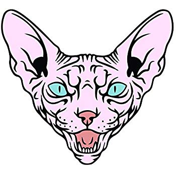 350x350 Happy Sphynx Cat Decal Indoor And Outdoor Use! Home