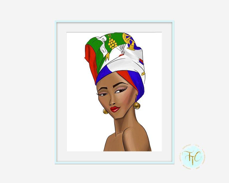 794x635 haitian pride lady lady haiti print haitian art haitian etsy