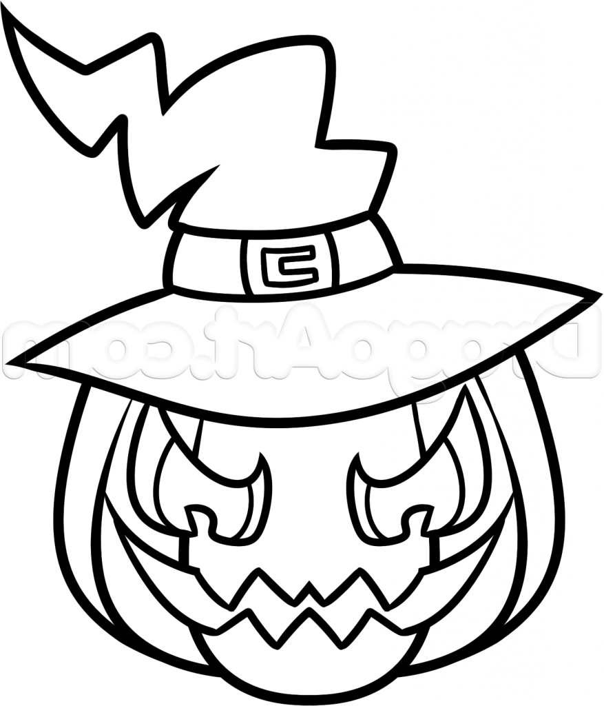 877x1024 Drawing Ideas For Halloween Easy Drawings Image Simple Pumpkin