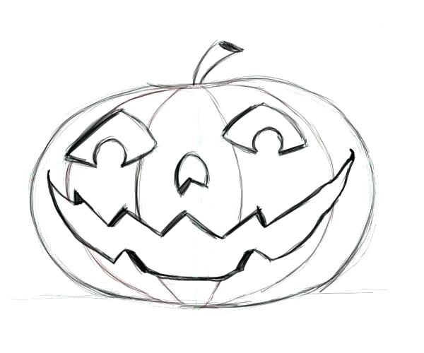 600x500 halloween pumpkin drawing halloween pumpkin drawings easy