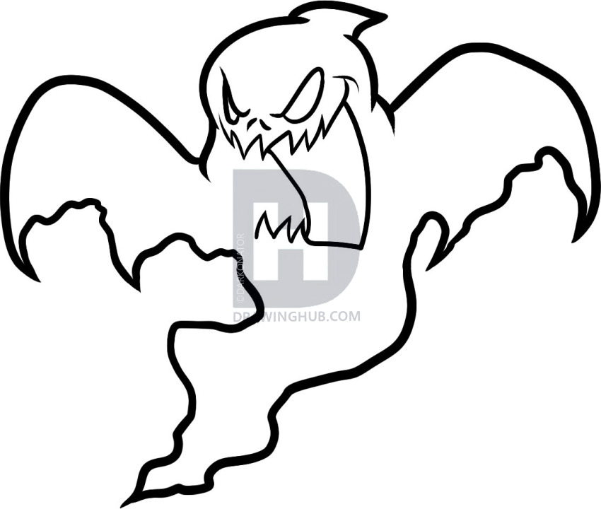 850x720 How To Draw A Halloween Ghost, Halloween Ghost, Step