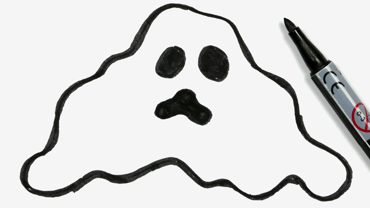 1280x720 How To Draw A Cartoon Halloween Ghost