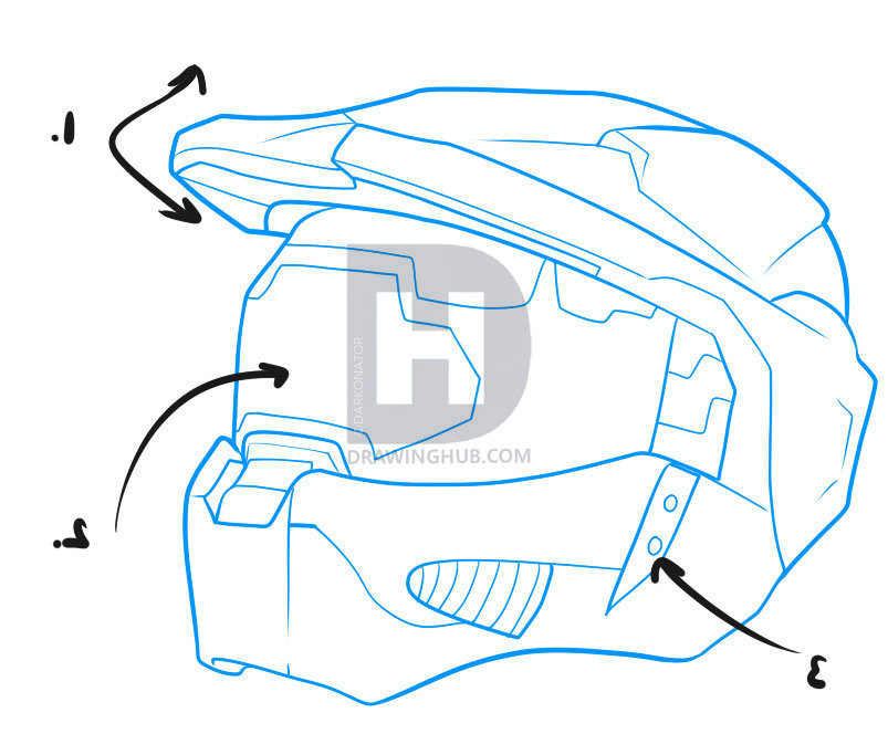 803x664 How To Draw A Halo Helmet, Step