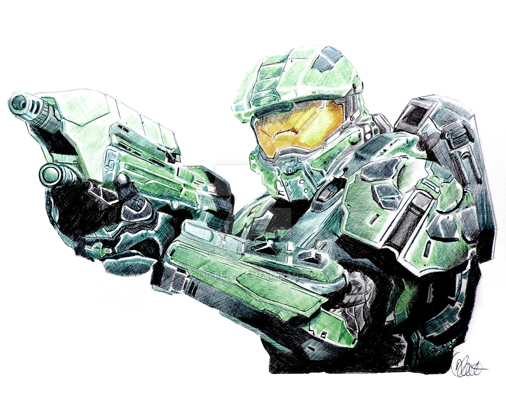 1024x819 Master Chief Halo Pen Drawing