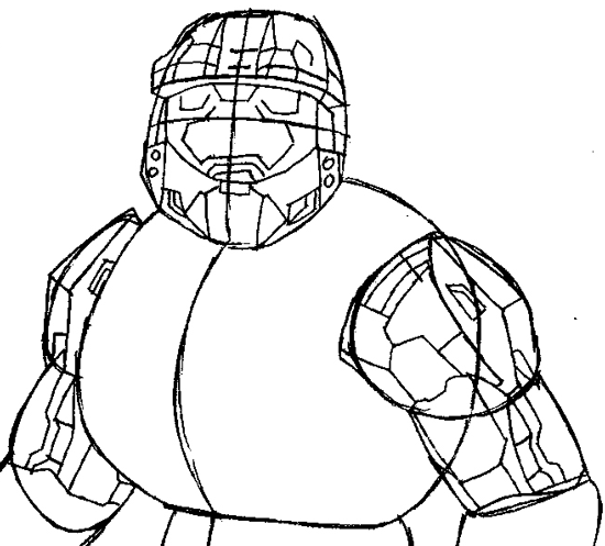 550x497 How To Draw Spartans From Halo With Easy Step