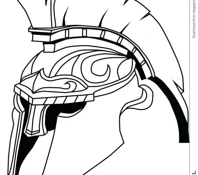 678x600 Startling Spartan Warrior Coloring Pages Helmet Drawing